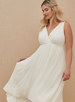 Special Occasion Ivory Chiffon Plunging Hi-Lo Dress, CLOUD DANCER, alternate