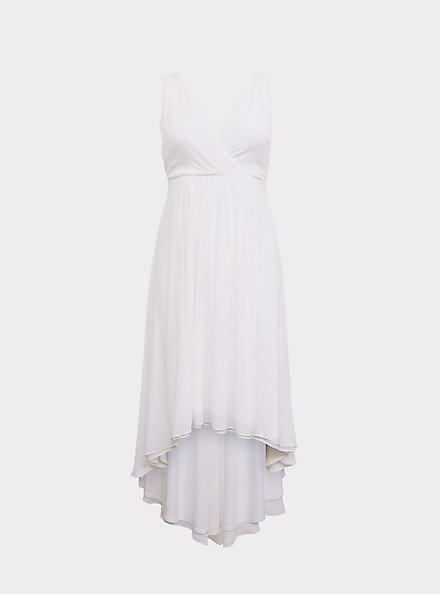 Special Occasion Ivory Chiffon Plunging Hi-Lo Dress, CLOUD DANCER, hi-res