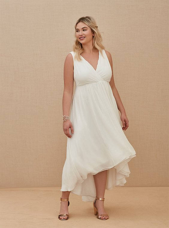 Special Occasion Ivory Chiffon Plunging Hi-Lo Dress, , hi-res