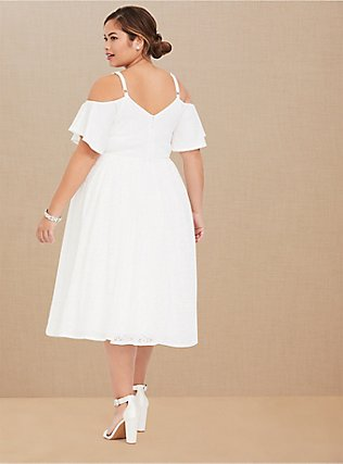 Special Occasion Ivory Lace Cold Shoulder Skater Dress, CLOUD DANCER, alternate