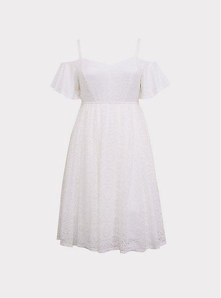Special Occasion Ivory Lace Cold Shoulder Skater Dress, CLOUD DANCER, hi-res