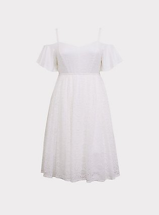 Special Occasion Ivory Lace Cold Shoulder Skater Dress, CLOUD DANCER, flat