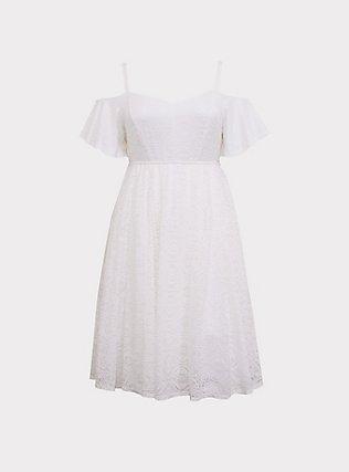 Plus Size Special Occasion Ivory Lace Cold Shoulder Skater Dress, CLOUD DANCER, flat