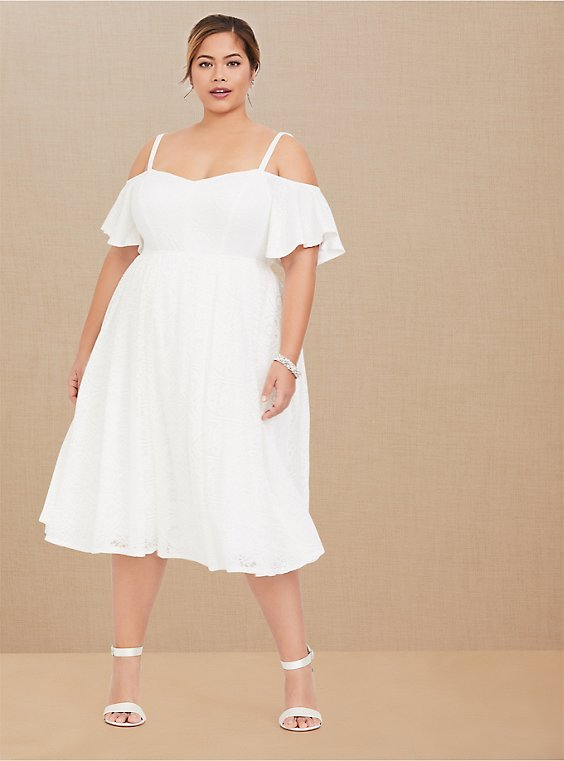 Plus Size Special Occasion Ivory Lace Cold Shoulder Skater Dress, , hi-res