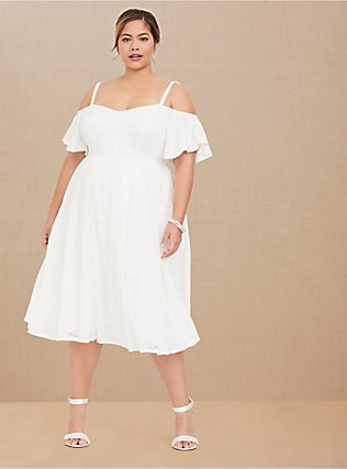 Special Occasion Ivory Lace Cold Shoulder Skater Dress, CLOUD DANCER, hi-res
