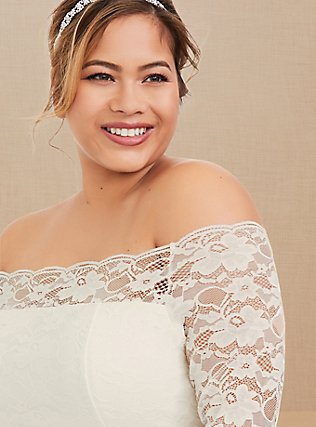 Special Occasion Ivory Lace Off Shoulder Bodycon Dress, CLOUD DANCER, alternate