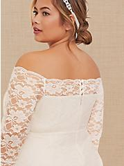 Plus Size Special Occasion Ivory Lace Off Shoulder Bodycon Dress, CLOUD DANCER, alternate