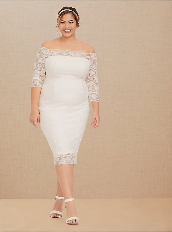 Plus Size Special Occasion Ivory Lace Off Shoulder Bodycon Dress, , hi-res