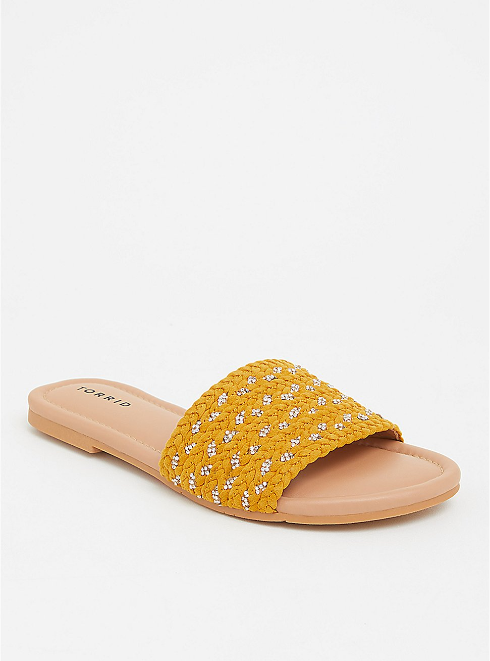 Plus Size Yellow Rhinestone Woven Slide (WW), YELLOW, hi-res