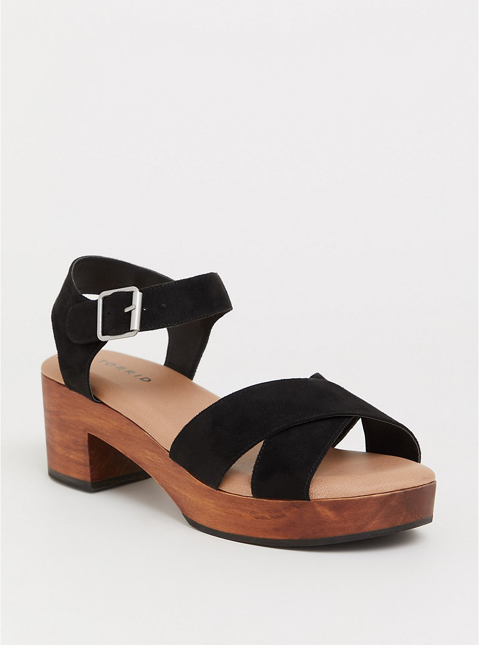 Black Crisscross Strap Wood Heel (WW), BLACK, hi-res