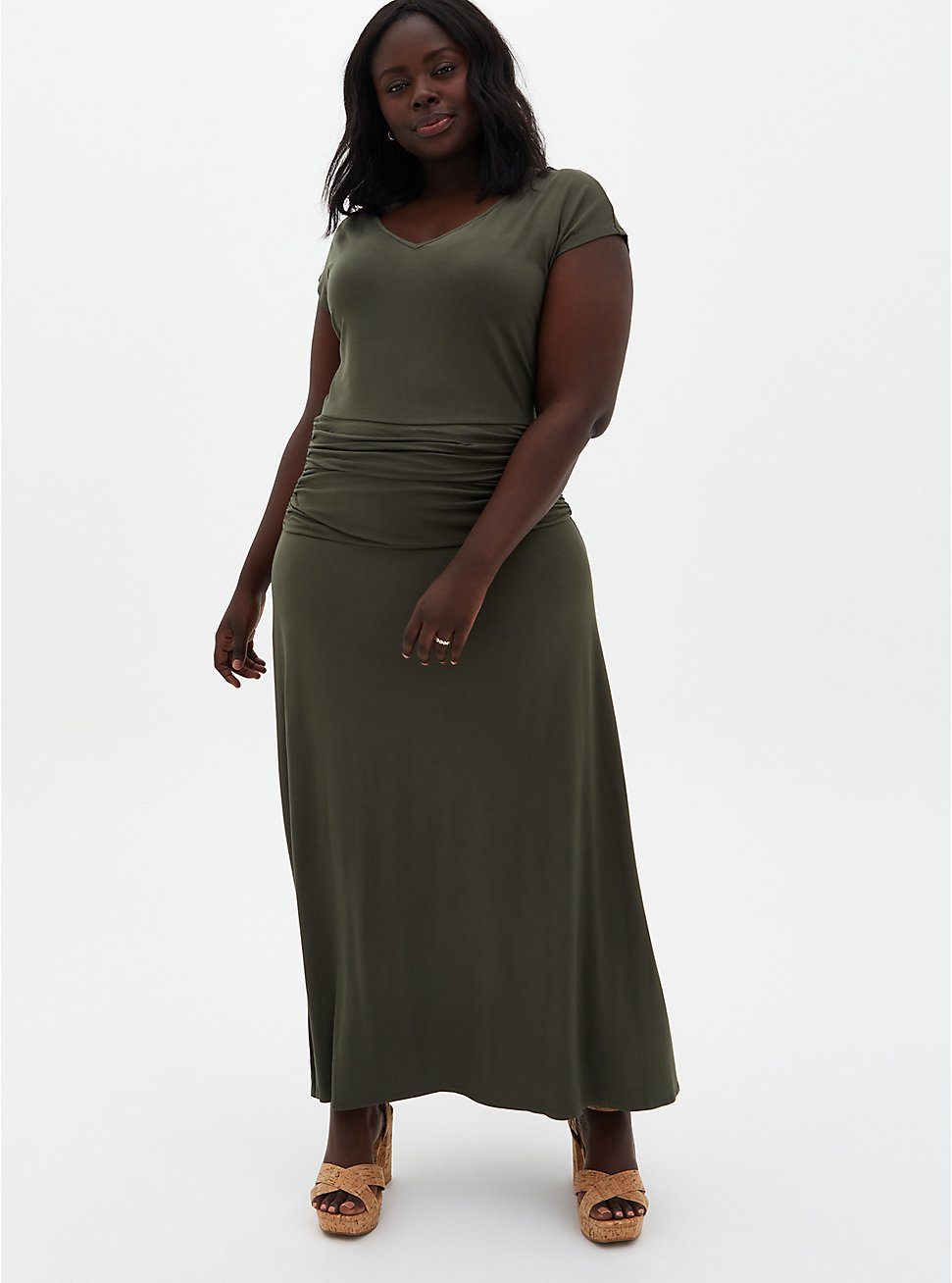 Olive Jersey Maxi Dress, DEEP DEPTHS, hi-res
