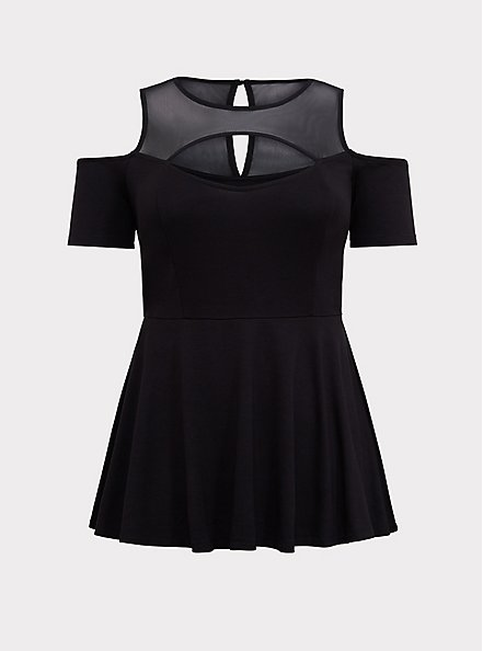 Plus Size Black Mesh Yoke Peplum Top, DEEP BLACK, hi-res