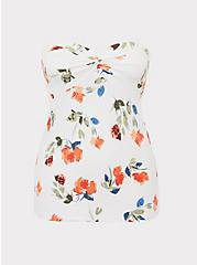 White Floral Knot Front Foxy Tube Top, FLORALS-WHITE, hi-res