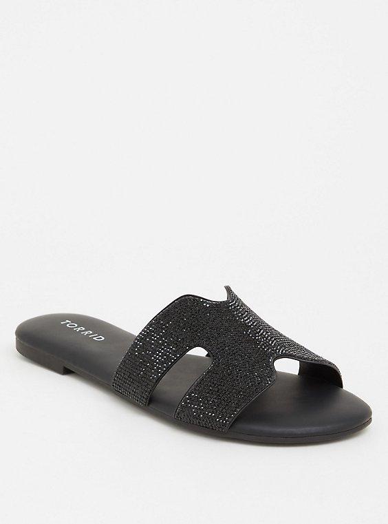 Black Rhinestone Slip-On Sandal (WW), , hi-res