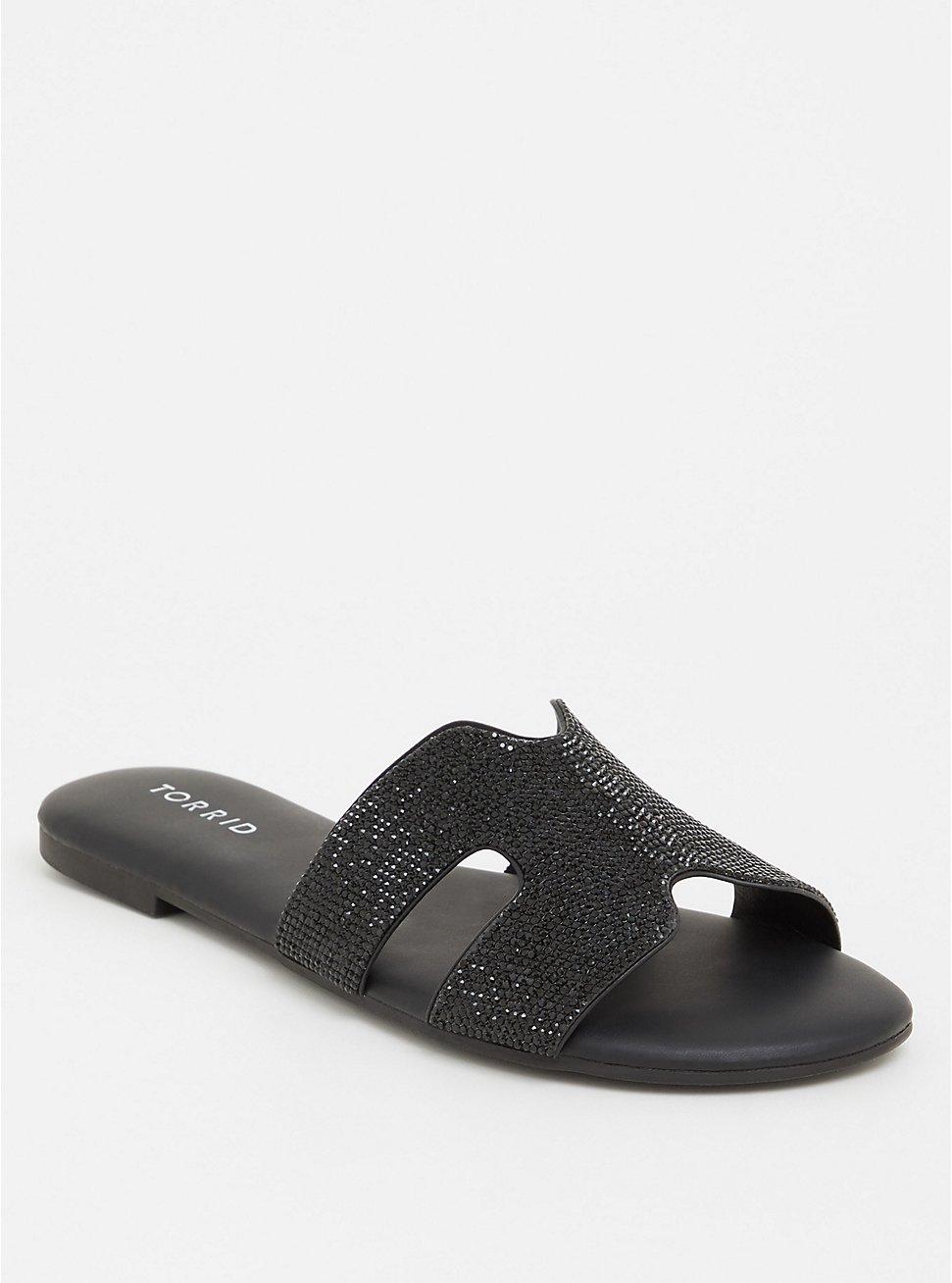 Black Rhinestone Slip-On Sandal (WW), BLACK, hi-res