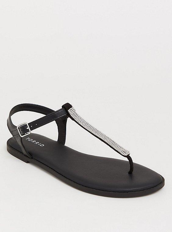 Plus Size Black Rhinestone T-Strap Sandal (WW), , hi-res