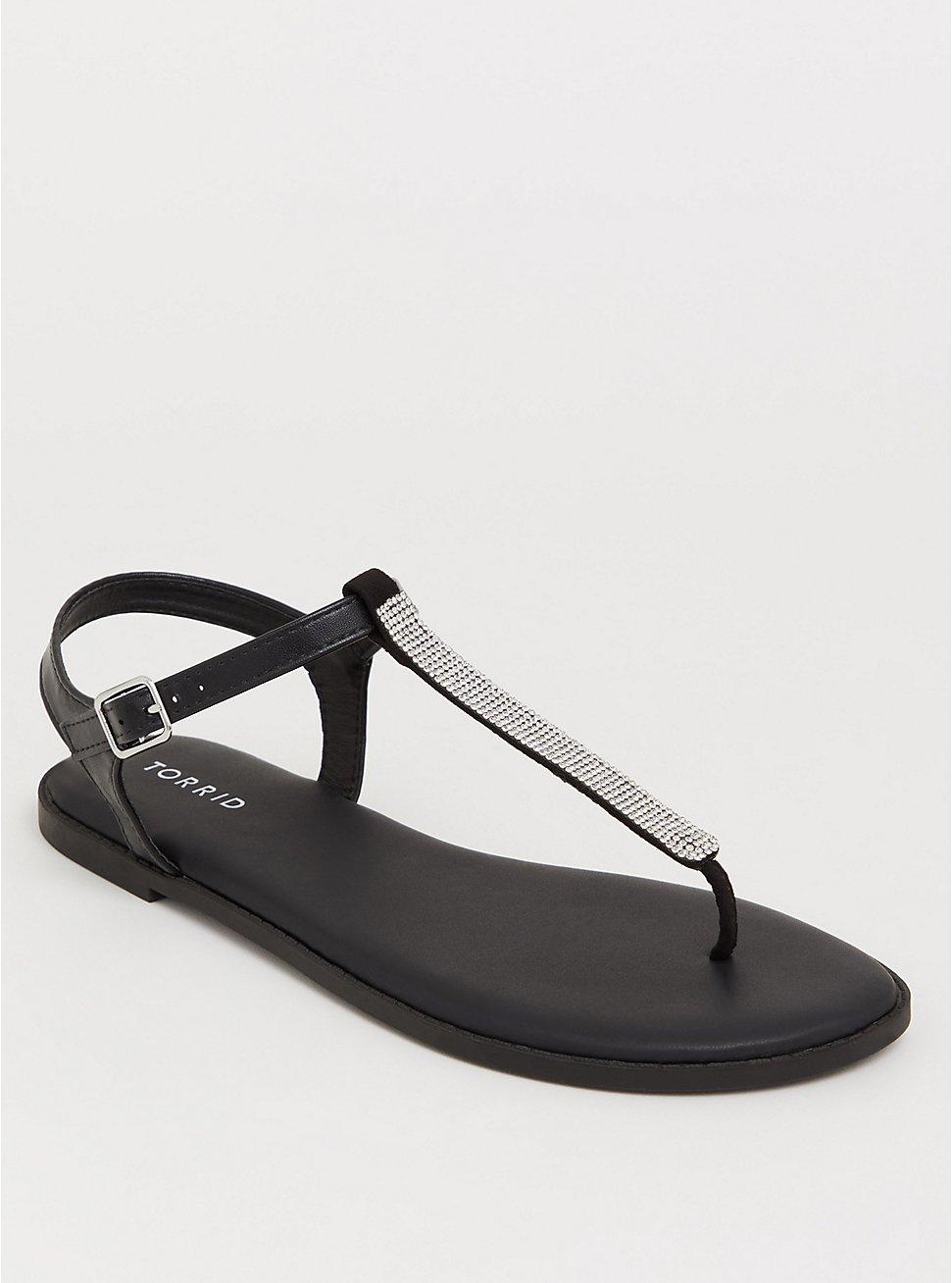 Plus Size Black Rhinestone T-Strap Sandal (WW), BLACK, hi-res