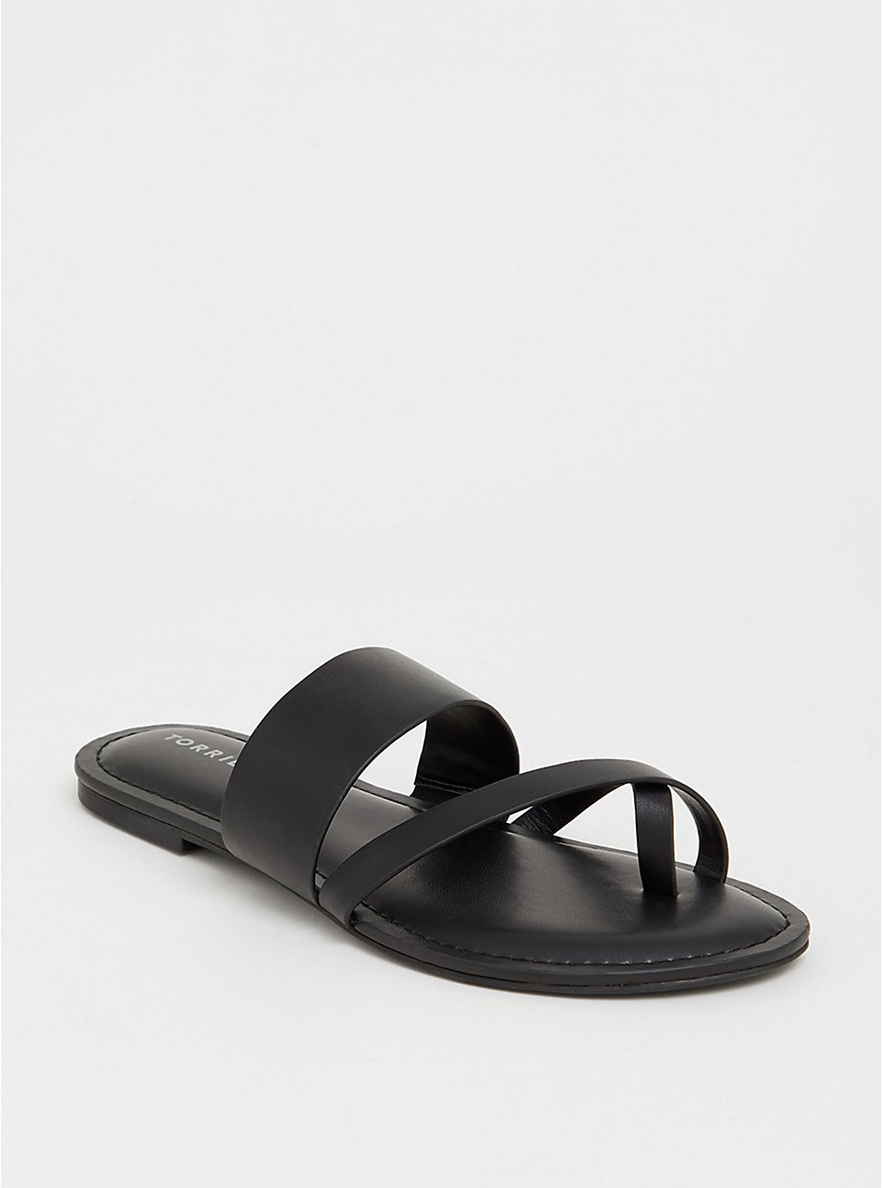 Plus Size Black Crisscross Slide (WW), BLACK, hi-res