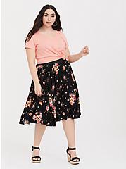 Black Floral Challis Skirt, IVORY, alternate