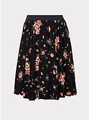 Black Floral Challis Skirt, IVORY, hi-res