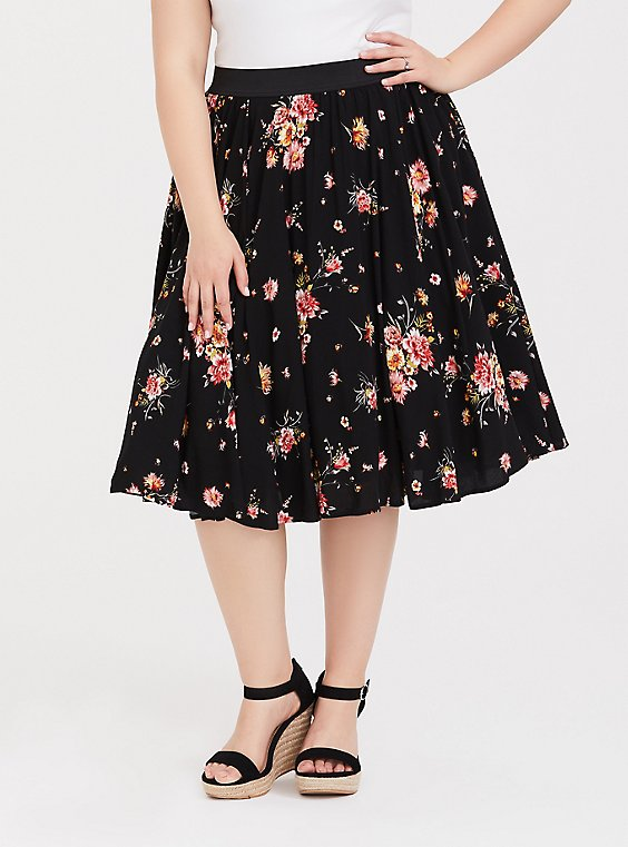 Black Floral Challis Skirt, , hi-res