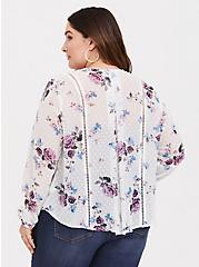 Ivory Floral Chiffon Kimono, LOVELY DAY, alternate