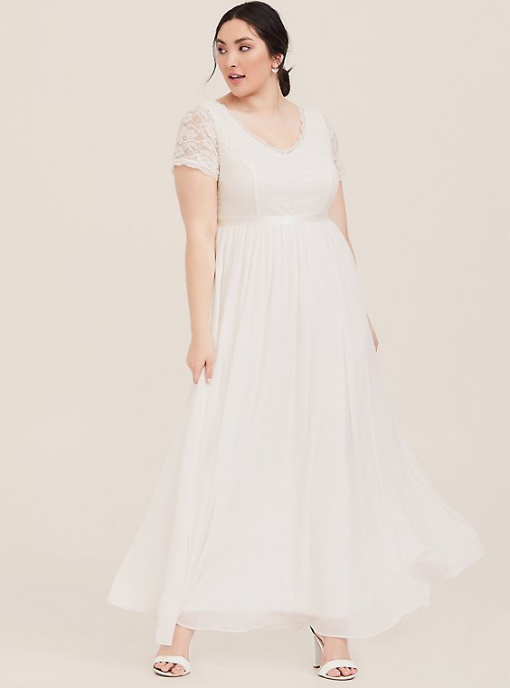 Plus Size Special Occasion Ivory Sequin Lace & Chiffon Formal Gown, , hi-res