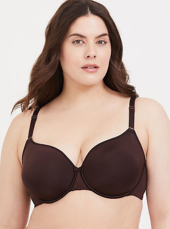 Plus Size Raisin Brown 360° Back Smoothing™ Lightly Lined Full Coverage Bra, , hi-res