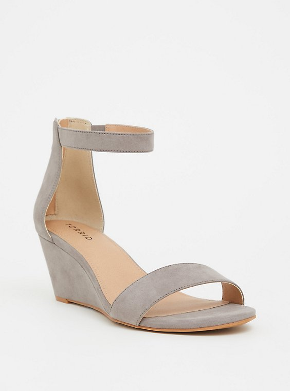 Plus Size Grey Faux Suede Mini Wedge (WW), , hi-res