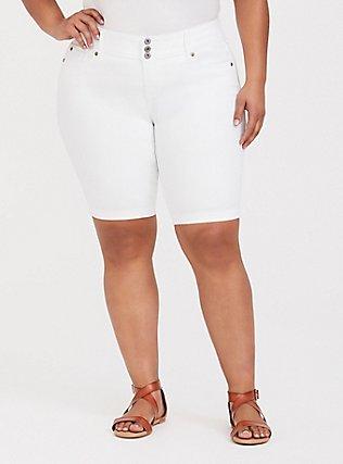 Plus Size Jegging Bermuda Short - Super Stretch White, WHITE, hi-res