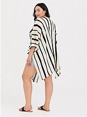 Ivory & Black Stripe Ruana, , alternate