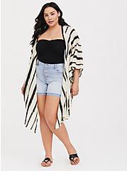 Ivory & Black Stripe Ruana, , hi-res