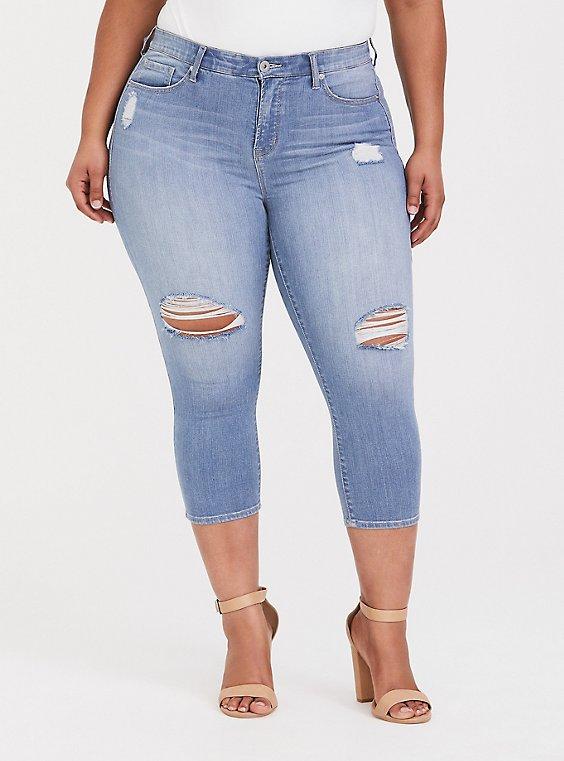 Crop Sky High Skinny Jean - Premium Stretch Light Wash, , hi-res