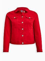 Red Denim Trucker Jacket, RUBY TUESDAY, hi-res