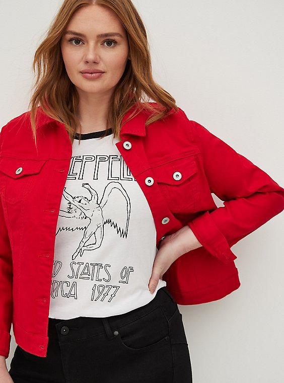 Plus Size Red Denim Trucker Jacket, , hi-res