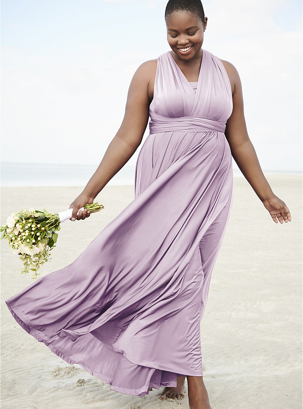 Special Occasion Lavender Purple Convertible Maxi Dress