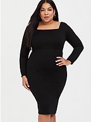 Black Premium Ponte Bodycon Dress, DEEP BLACK, alternate