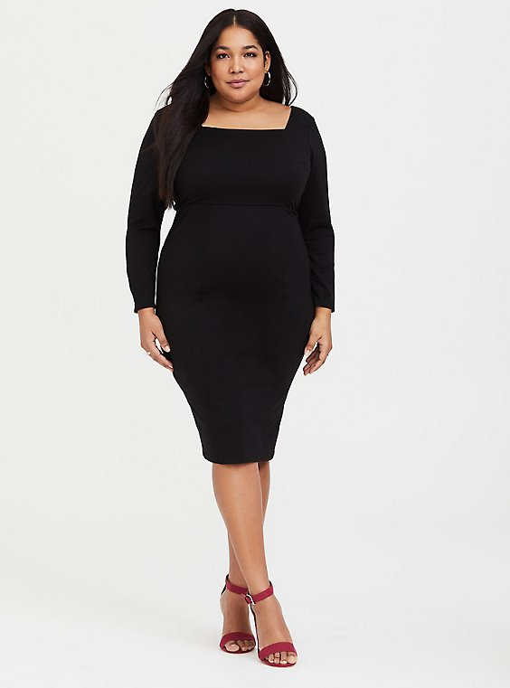 Black Premium Ponte Bodycon Dress, , hi-res