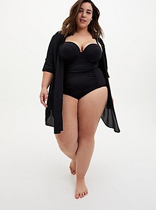 Plus Size Black Button-Up Shirt Dress Swim Cover-Up, DEEP BLACK, alternate