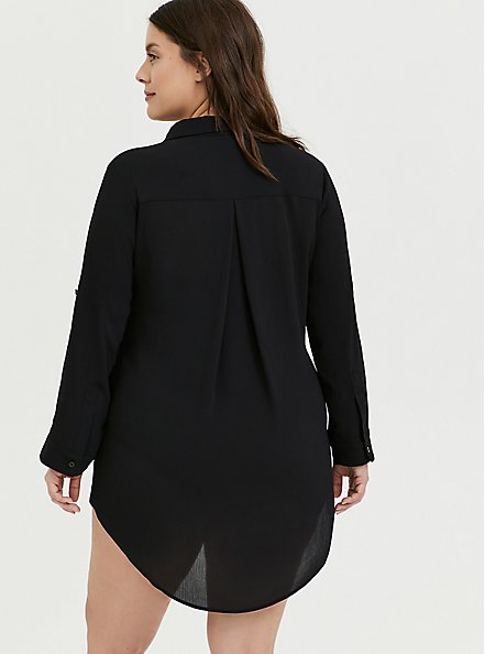 Black Crinkled Gauze Shirt Dress Swim Cover Up, DEEP BLACK, alternate
