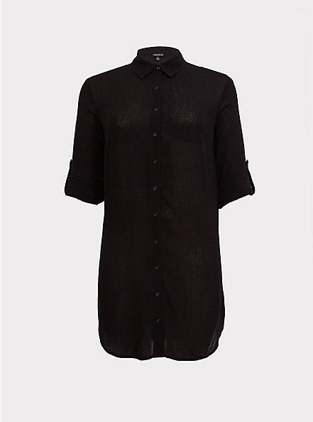 Black Crinkled Gauze Shirt Dress Swim Cover Up, DEEP BLACK, hi-res