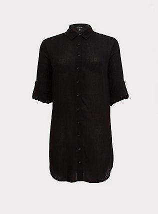 Black Button-Up Shirt Dress Swim Cover-Up, DEEP BLACK, flat
