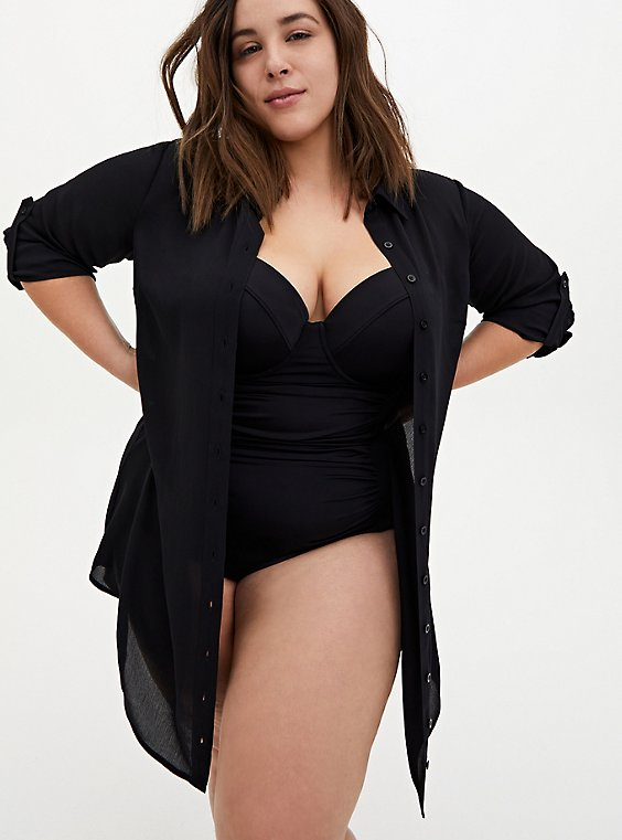 Black Button Front Shirt Dress Swim Cover Up, , hi-res