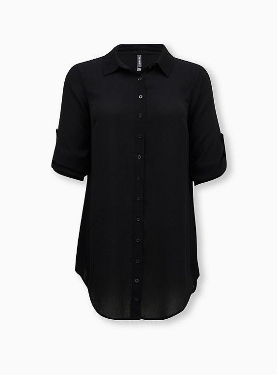 Black Crinkled Gauze Shirt Dress Swim Cover Up, DEEP BLACK, ls