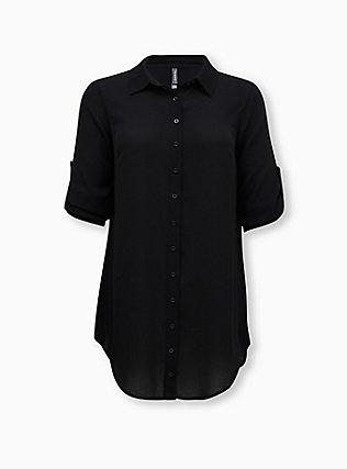 Black Button-Up Shirt Dress Swim Cover-Up, DEEP BLACK, ls