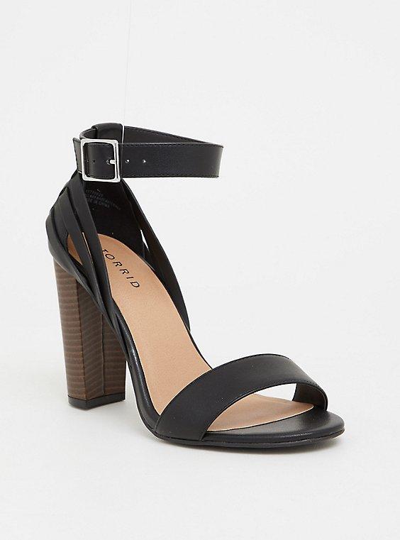 Black Woven Stacked Heel (WW), , hi-res