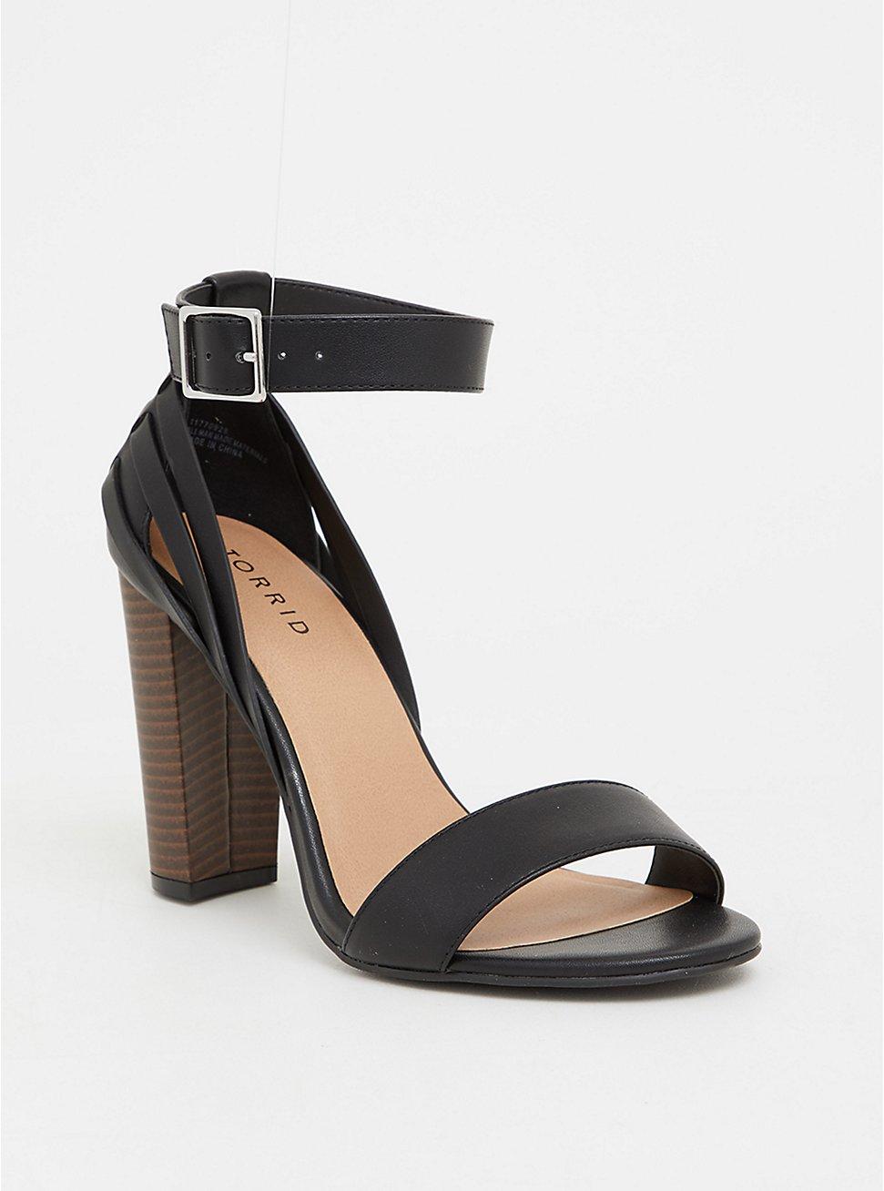 Black Woven Stacked Heel (WW), BLACK, hi-res