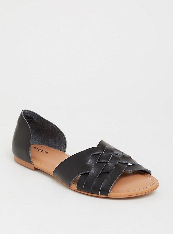 Plus Size Black Woven Flat Slide (WW), , hi-res