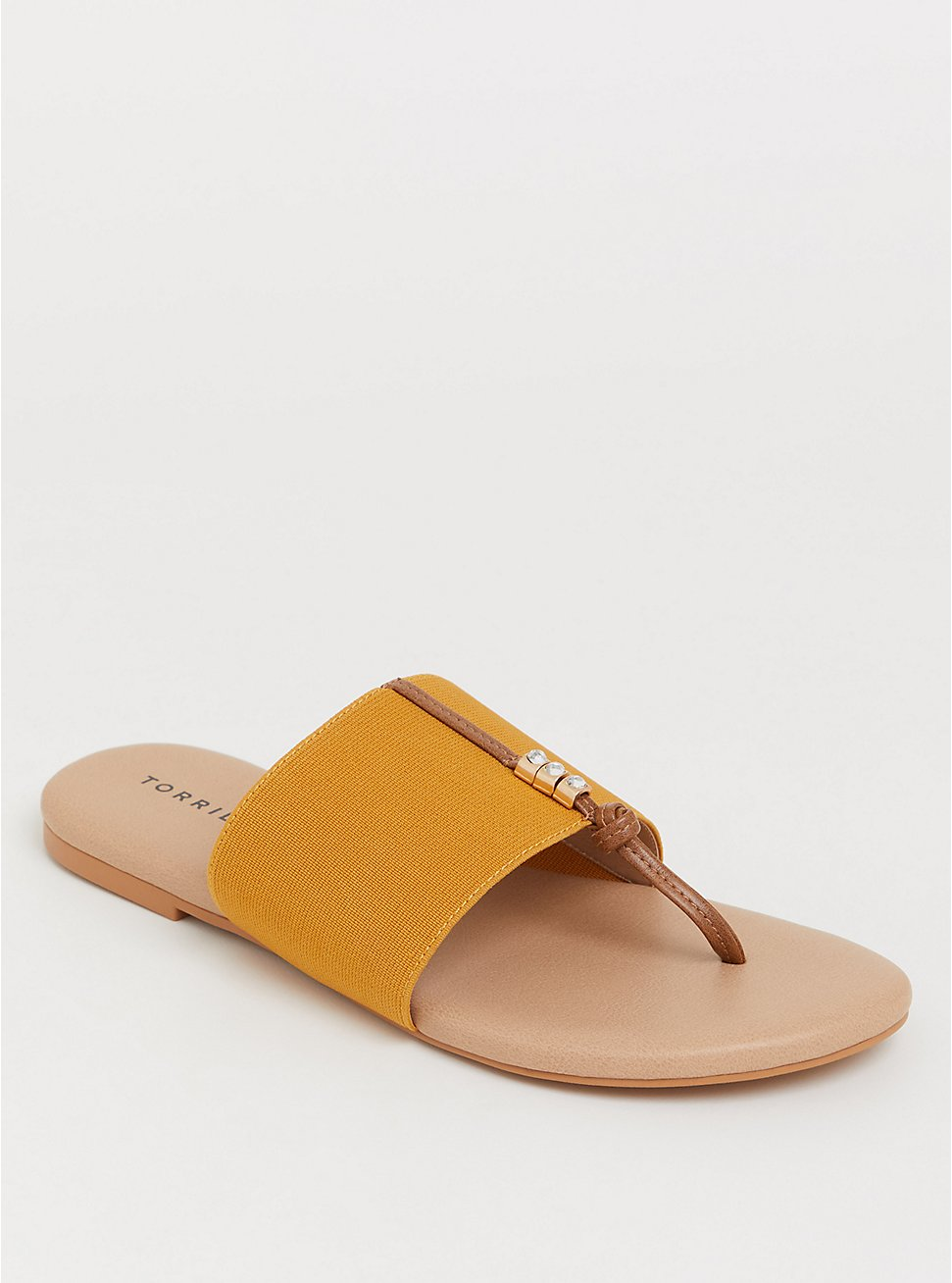 Plus Size Mustard Elastic Sandal (WW), YELLOW, hi-res