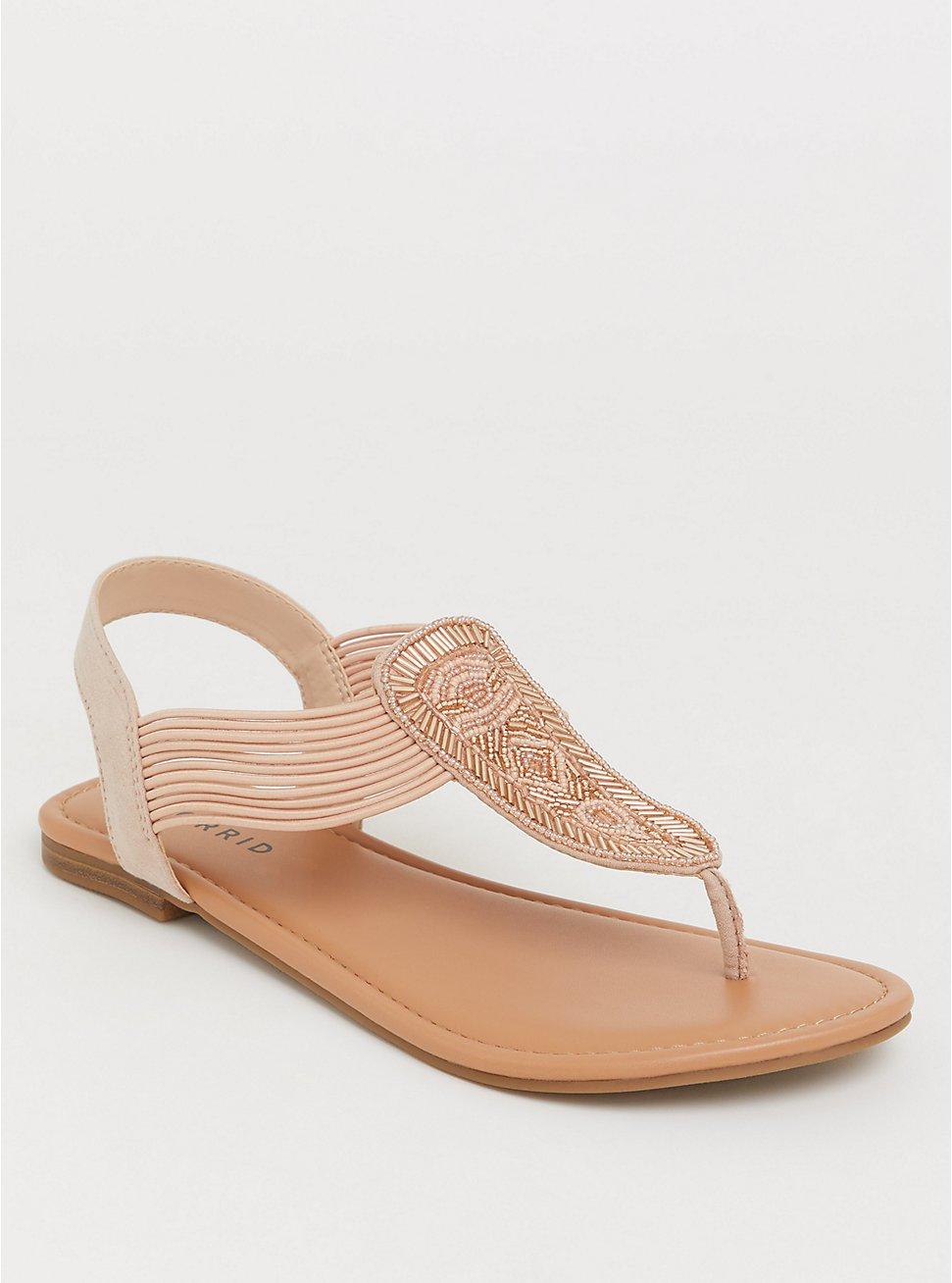 Blush Seabead T-Strap Sandal (WW), SILVER, hi-res
